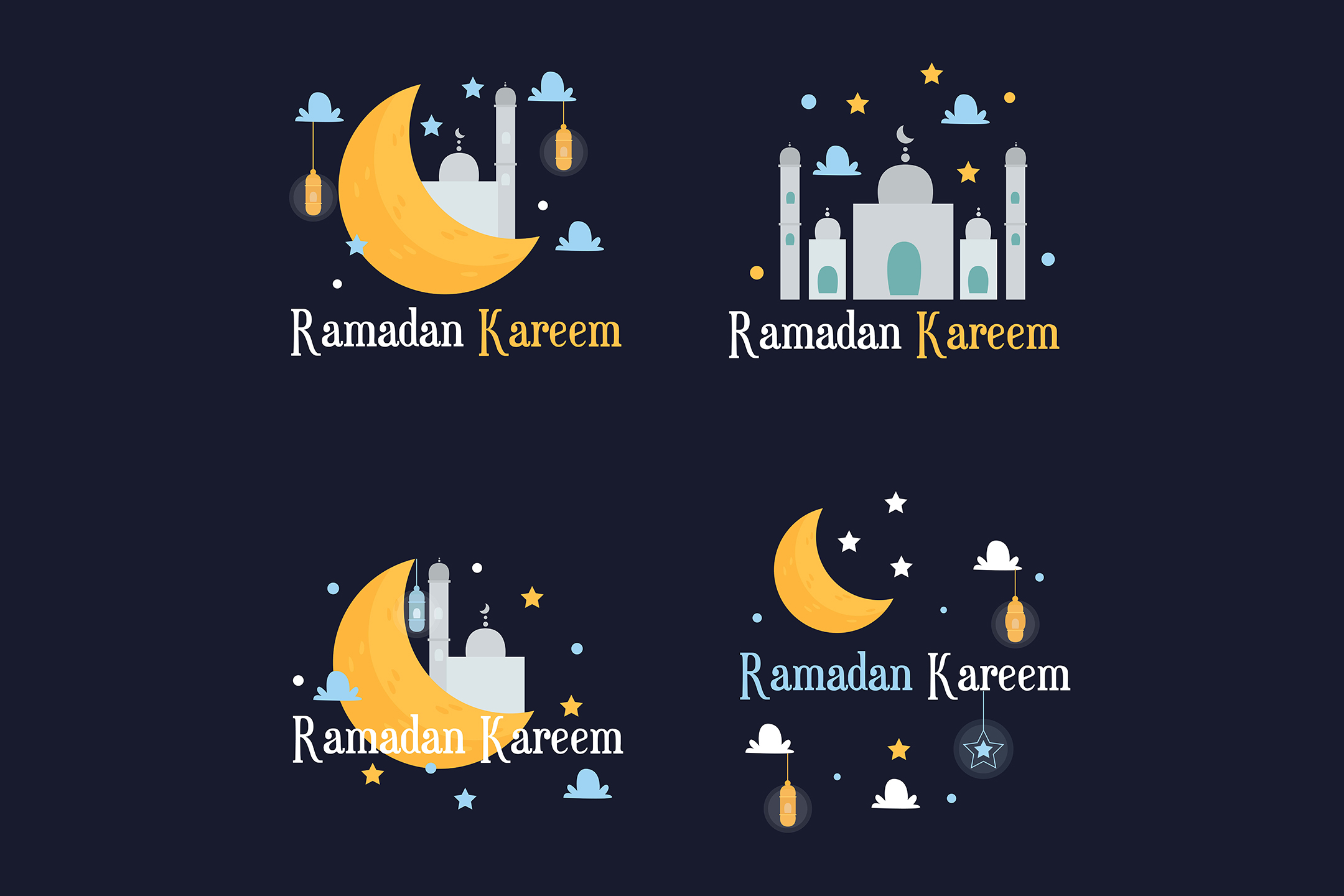 Download Free Ramadan Kareem Lettering Colorful Sign Graphic By Aprlmp276 for Cricut Explore, Silhouette and other cutting machines.