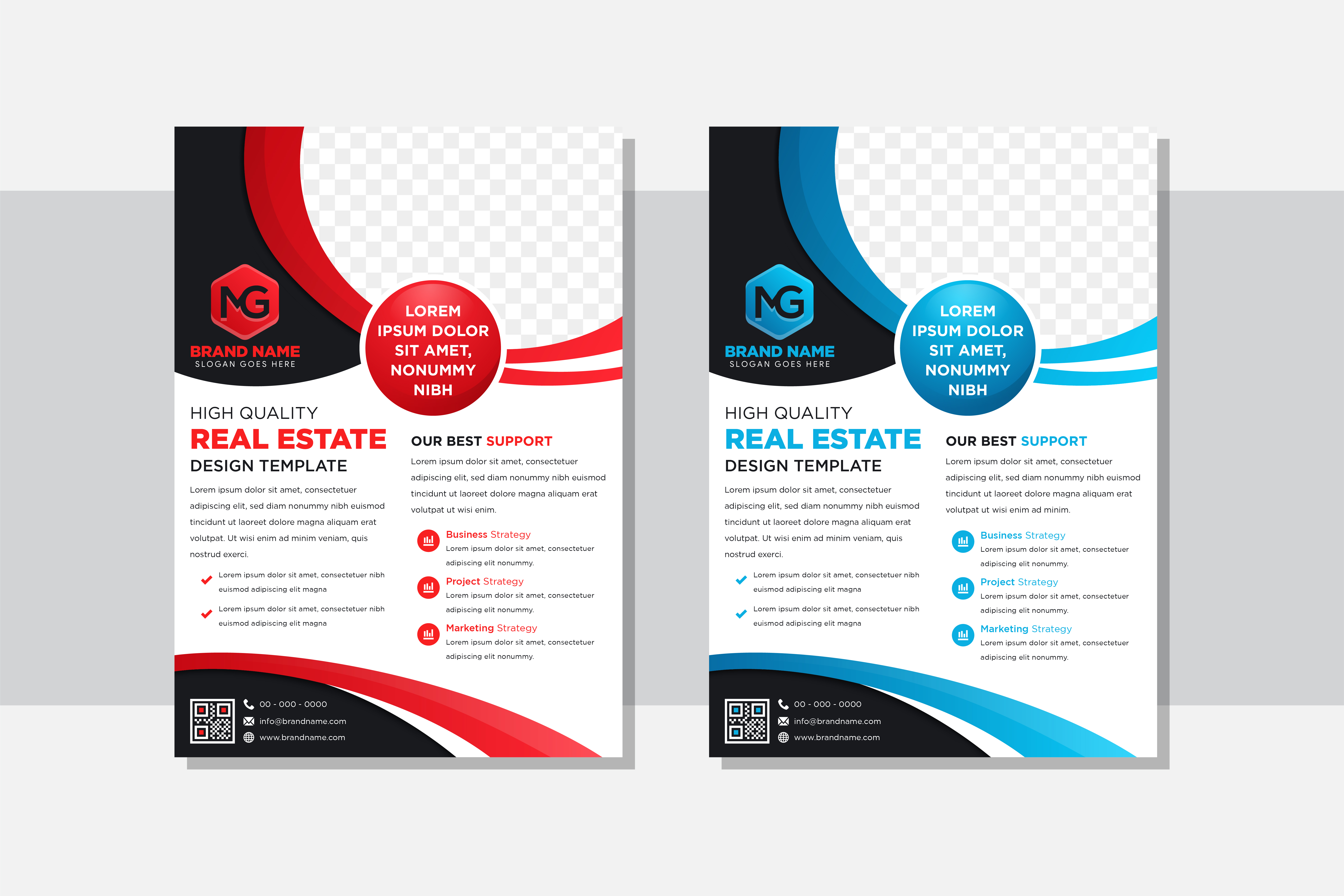 Download Free Real Estate Blue Curve Vertical Flyer Graphic By Noory Shopper for Cricut Explore, Silhouette and other cutting machines.