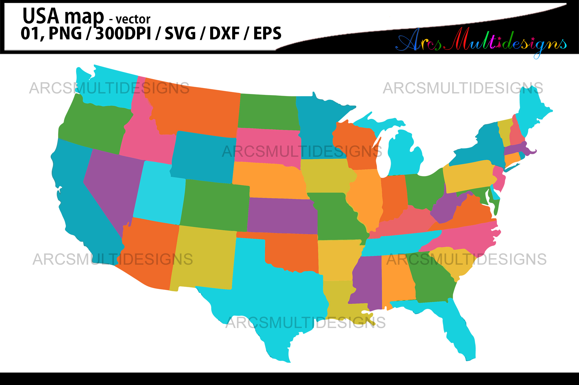 Download Free Usa Map Grafico Por Arcs Multidesigns Creative Fabrica SVG Cut Files