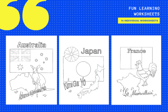 Download Free 14 Flag Geography Colouring Worksheets Graphic By for Cricut Explore, Silhouette and other cutting machines.