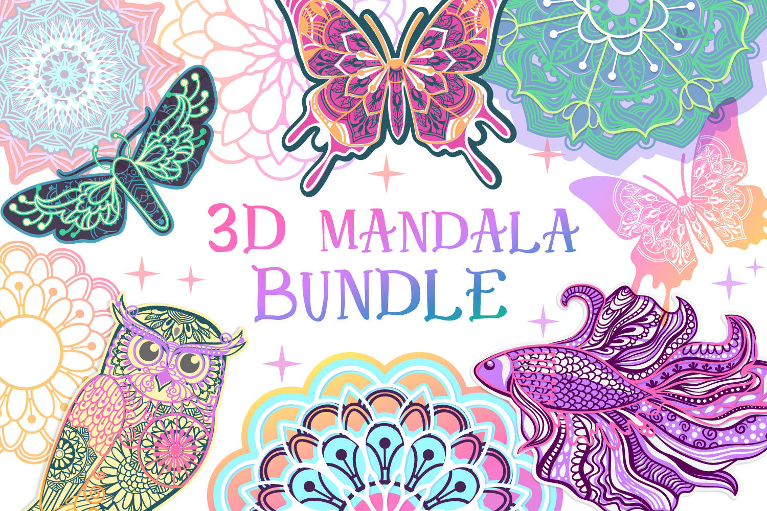 Download Free 3d Mandala Bundle Graphic By Tatiana Cociorva Creative Fabrica for Cricut Explore, Silhouette and other cutting machines.