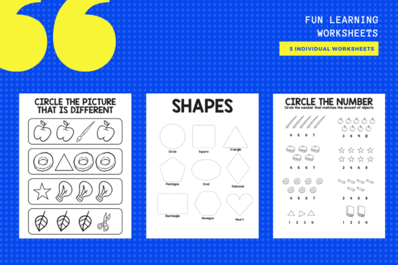 Print on Demand: 5 Fun Learning Worksheets Graphic Teaching Materials By yumbeehomeschool