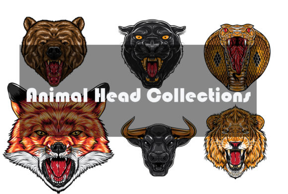 Animal Head Collections Graphic Illustrations By jennystain