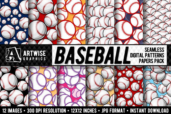 Baseball Digital Paper Graphics Graphic Patterns By Artwise Graphics