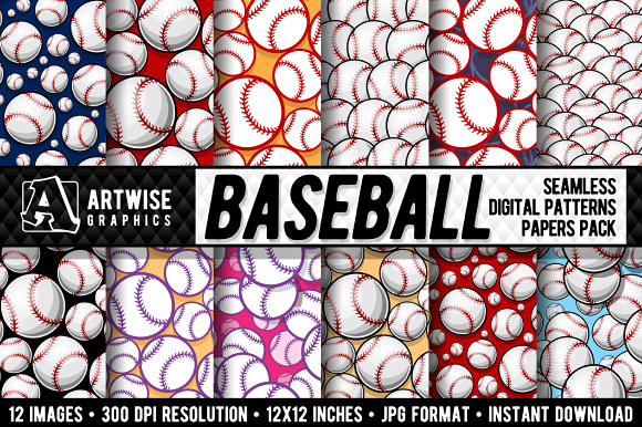 Download Free Baseball Digital Paper Graphics Graphic By Artwise Graphics for Cricut Explore, Silhouette and other cutting machines.