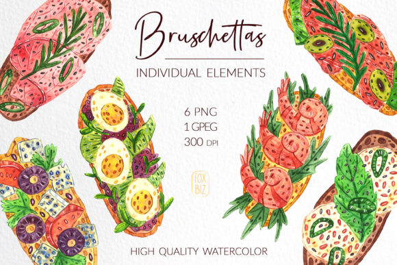 Print on Demand: Bruschettas High Quality Watercolor Clip Graphic Illustrations By FoxBiz