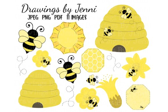 Bumble Bee and Hive Clipart Set Graphic Illustrations By DrawingsbyJenni