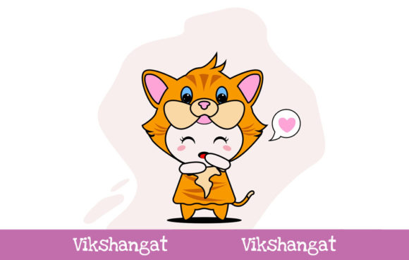 Download Free Cute Cat Character Vector Mascot Graphic By Vikshangat for Cricut Explore, Silhouette and other cutting machines.