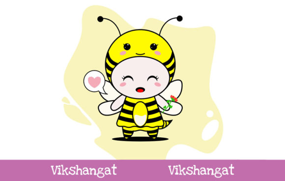 Download Free Cute Honey Bee Character Vector Mascot Graphic By Vikshangat for Cricut Explore, Silhouette and other cutting machines.