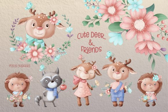 Print on Demand: Cute Deer and Friends Graphic Illustrations By nicjulia - Image 1