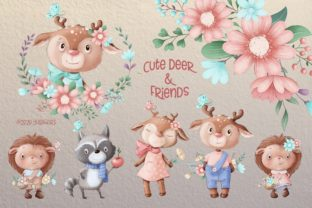 Cute Deer and Friends Graphic Illustrations By nicjulia