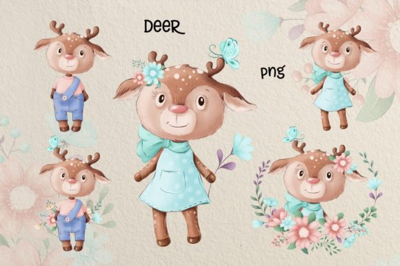 Print on Demand: Cute Deer and Friends Graphic Illustrations By nicjulia - Image 3