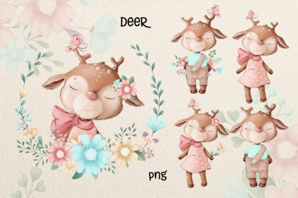 Print on Demand: Cute Deer and Friends Graphic Illustrations By nicjulia - Image 4