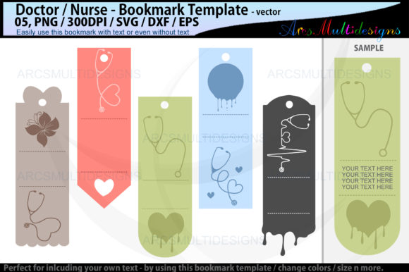 Download Free Doctor Bookmark Template Nurse Graphic By Arcs Multidesigns for Cricut Explore, Silhouette and other cutting machines.