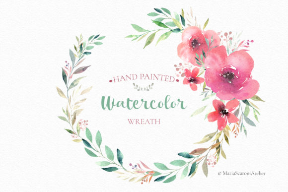 Download Free Floral Watercolor Wreath Graphic By Mariascaroniatelier for Cricut Explore, Silhouette and other cutting machines.