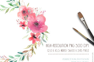 Print on Demand: Floral Watercolor Wreath Graphic Illustrations By MariaScaroniAtelier 2
