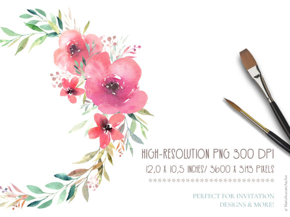 Print on Demand: Floral Watercolor Wreath Graphic Illustrations By MariaScaroniAtelier - Image 2