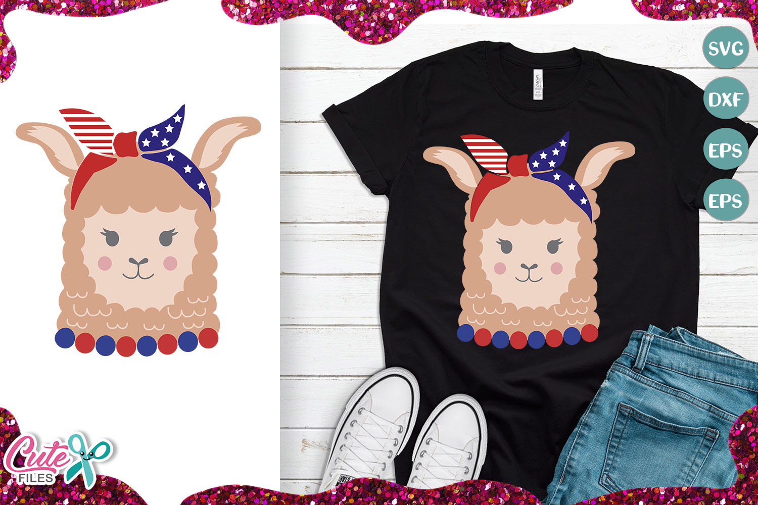 Download Free Patriotic Llama Girl With Bandana Grafik Von Cute Files for Cricut Explore, Silhouette and other cutting machines.