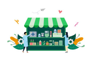 Download Free Pharmacy Or Drugstore Flat Illustration Graphic By Lartestudio for Cricut Explore, Silhouette and other cutting machines.