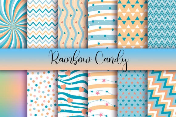 Download Free Rainbow Candy Background Digital Papers Graphic By Pinkpearly for Cricut Explore, Silhouette and other cutting machines.