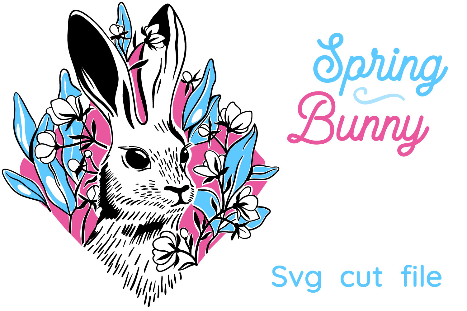 Download Free Spring Bunny Graphic By Tatiana Cociorva Creative Fabrica for Cricut Explore, Silhouette and other cutting machines.