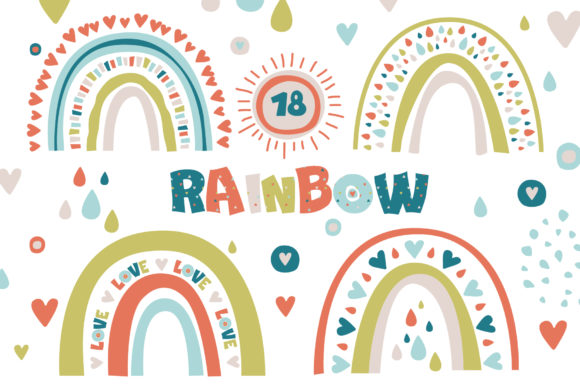 Trendy Abstract Spring Rainbow Graphic Illustrations By lena-dorosh