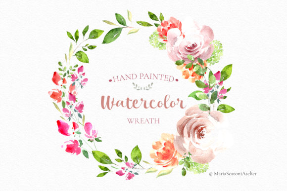 Download Free Watercolor Wreath Hand Painted Graphic By Mariascaroniatelier for Cricut Explore, Silhouette and other cutting machines.