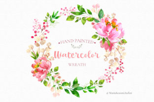 Print on Demand: Watercolor Hand Painted Wreath Graphic Illustrations By MariaScaroniAtelier