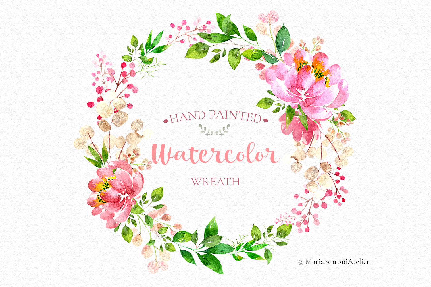 Watercolor Hand Painted Wreath Graphic By Mariascaroniatelier Creative Fabrica