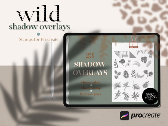 Wild Shadow Overlays for Procreate Graphic Brushes By OkayAnnie Designs