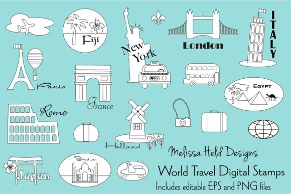 World Travel Digital Stamps Clipart Graphic Illustrations By Melissa Held Designs
