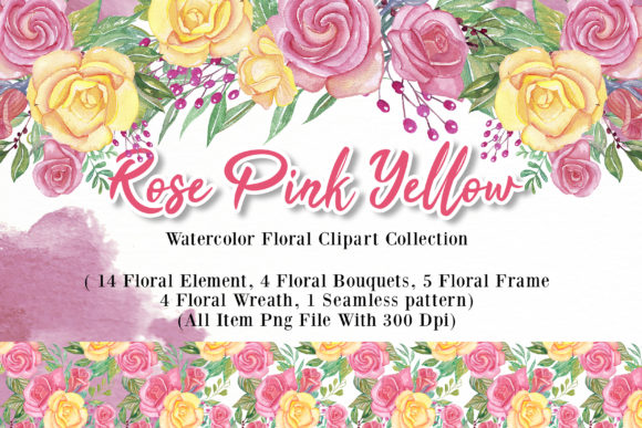 Print on Demand: Rose Pink Yellow Watercolor Illustration Graphic Illustrations By OrchidArt - Image 1