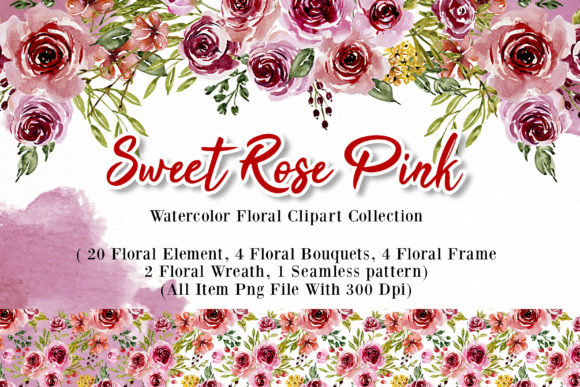Print on Demand: Sweet Rose Pink Watercolor Set Graphic Illustrations By OrchidArt