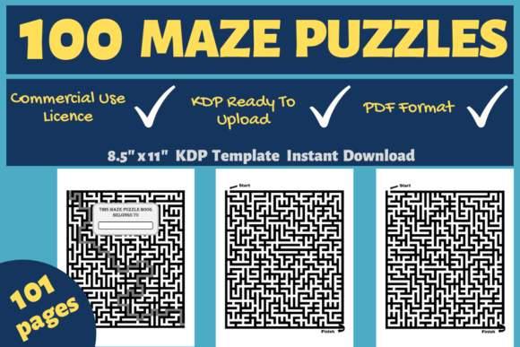 Print on Demand: 100 Maze Puzzles Book | KDP Interior Graphic KDP Interiors By Mastery Templates