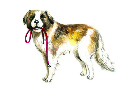 St. Bernard with Leash in Mouth Dogs Craft Cut File By Creative Fabrica Crafts