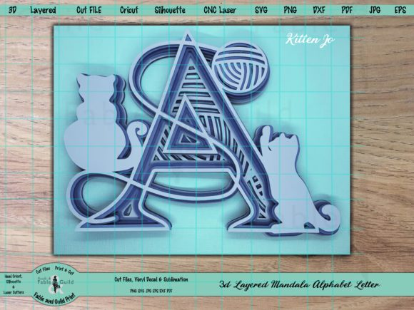 Download Free 3d Letter Cricut Mandala Graphic By Fable And Guild Print for Cricut Explore, Silhouette and other cutting machines.