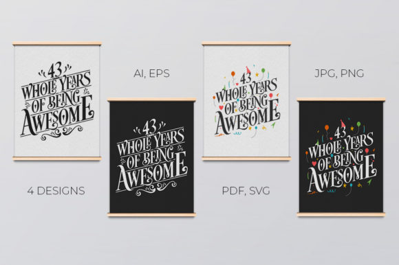Download Free 44 Year Birthday Anniversary Typo Set Graphic By Creator SVG Cut Files
