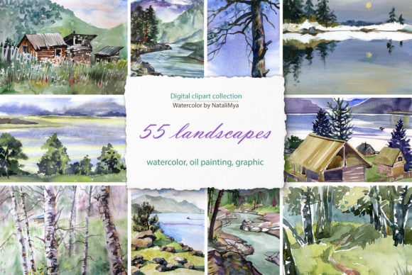 55 Watercolor Digital Landscapes Graphic Illustrations By NataliMyaStore