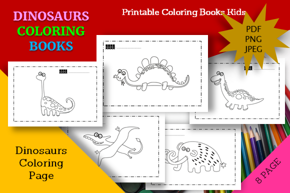 Print on Demand: 8 Cute Dinosaurs Coloring Book Printable Graphic Coloring Pages & Books Kids By icutletterstudio
