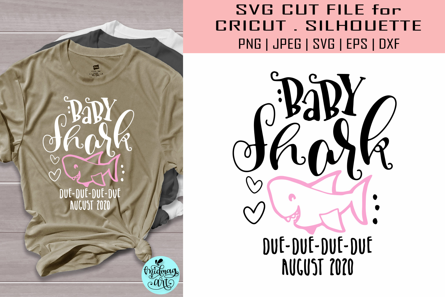 Download Free Baby Shark Due August Pregnancy Graphic By Midmagart Creative for Cricut Explore, Silhouette and other cutting machines.