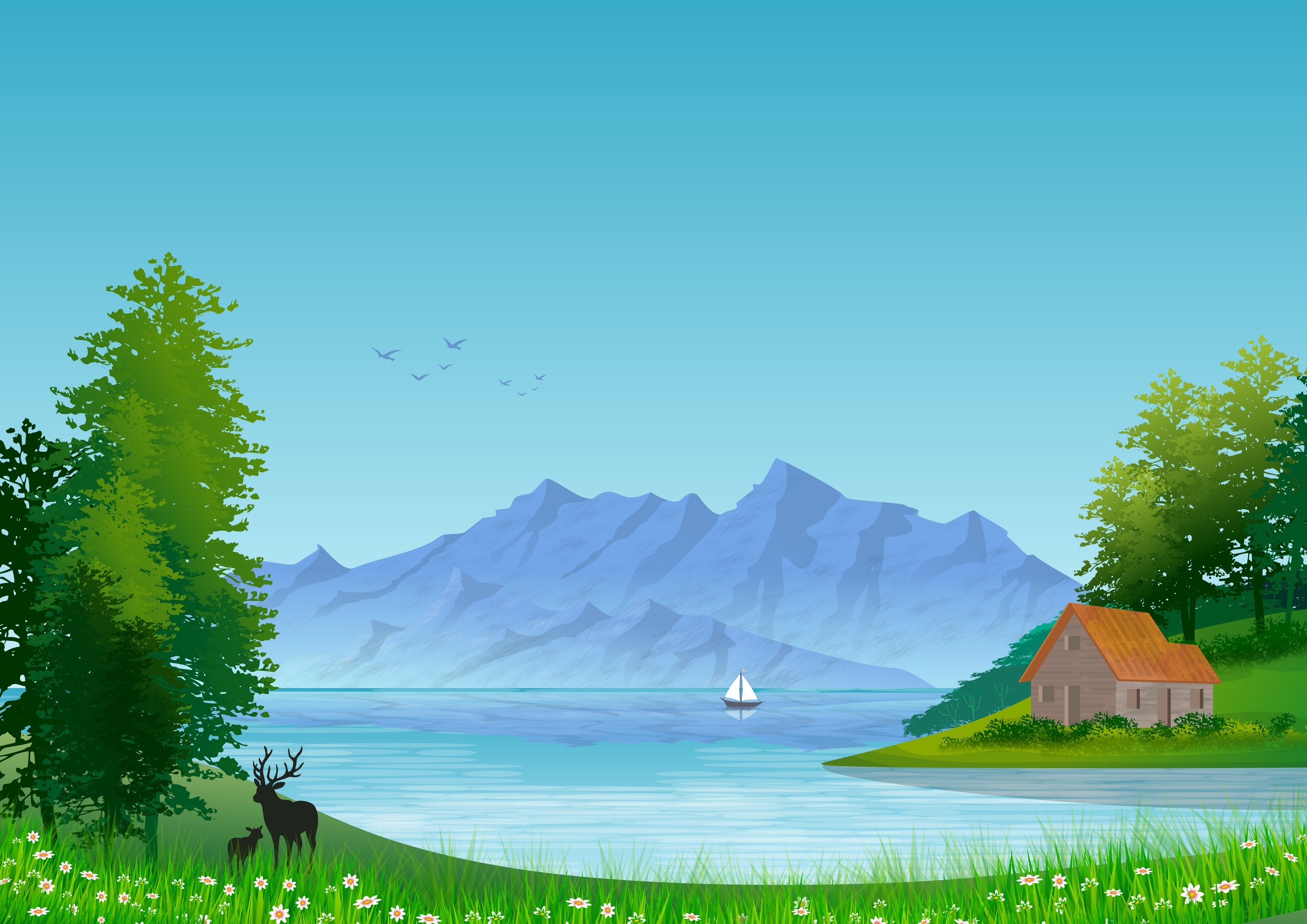 Download Free Background With Natural Landscape Illustration Grafico Por for Cricut Explore, Silhouette and other cutting machines.