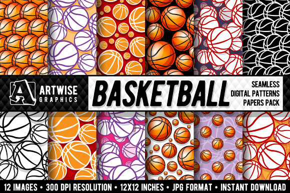 Basketball Digital Paper Graphics Graphic Patterns By Artwise Graphics