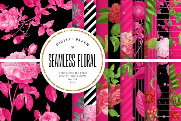 Print on Demand: Black & Pink Seamless Floral Patterns Graphic Backgrounds By Sabina Leja