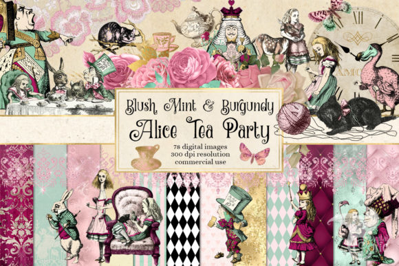 Print on Demand: Blush Mint and Burgundy Alice Tea Party Graphic Illustrations By Digital Curio