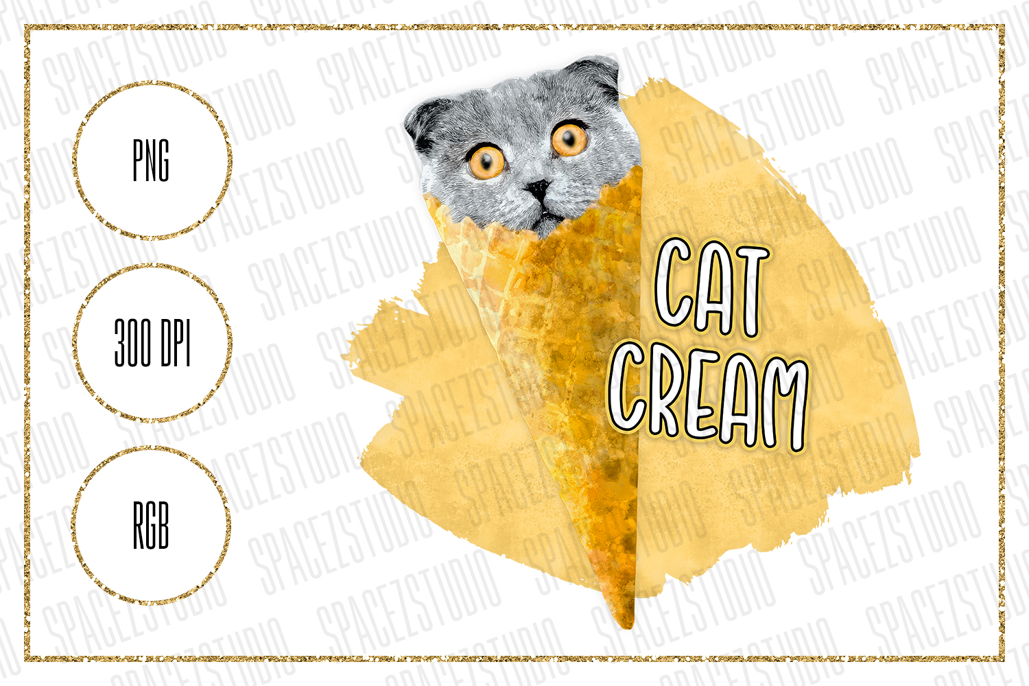 Download Free Cat Cream Design For Sublimation Graphic By Sabina Leja for Cricut Explore, Silhouette and other cutting machines.