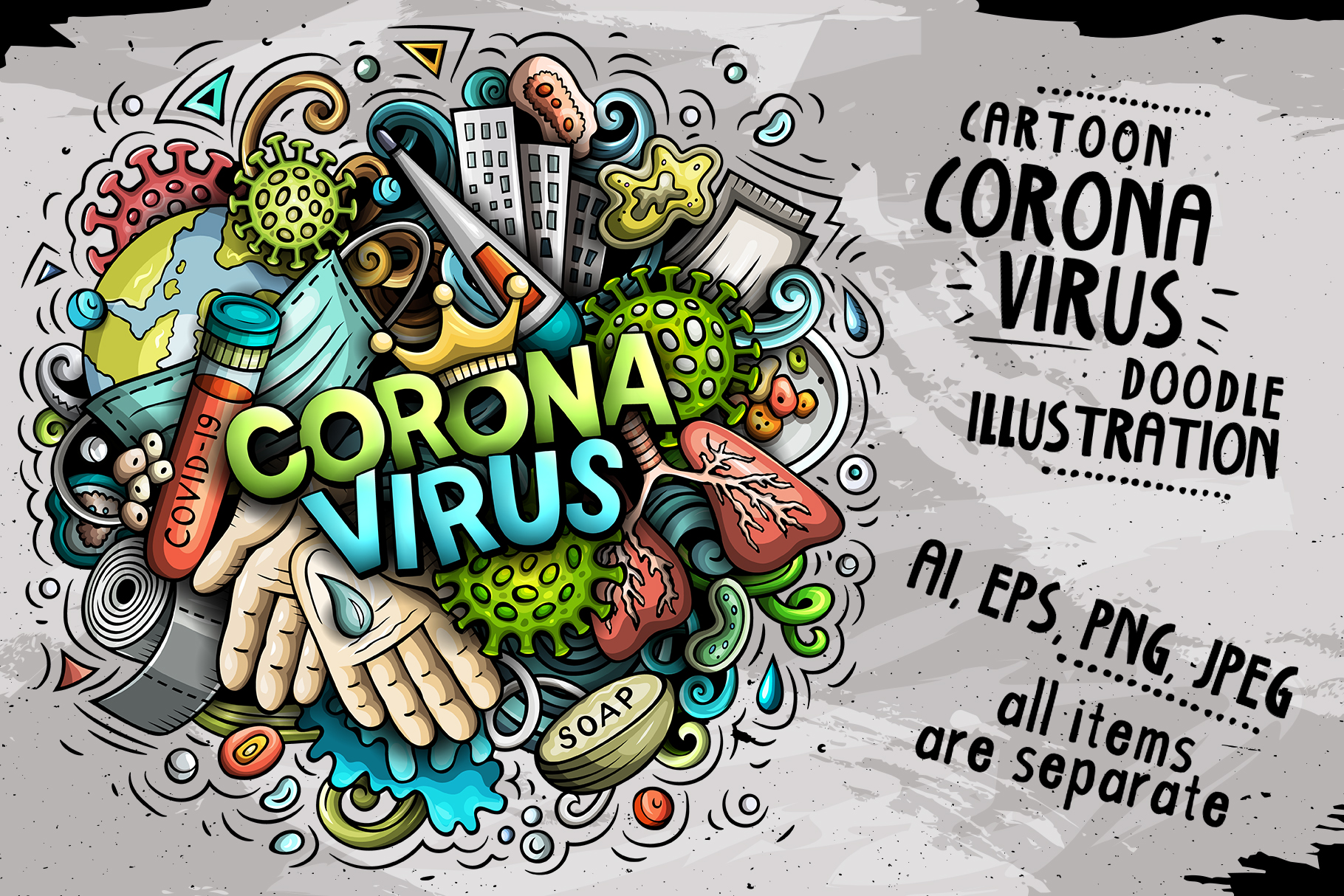 Download Free Coronavirus Cartoon Illustration Graphic By Balabolka Creative for Cricut Explore, Silhouette and other cutting machines.