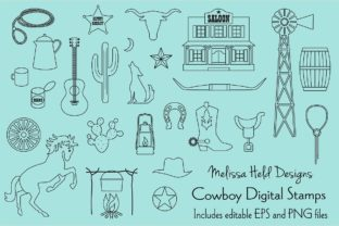 Download Free Cowboy Digital Stamps Clipart Graphic By Melissa Held Designs for Cricut Explore, Silhouette and other cutting machines.