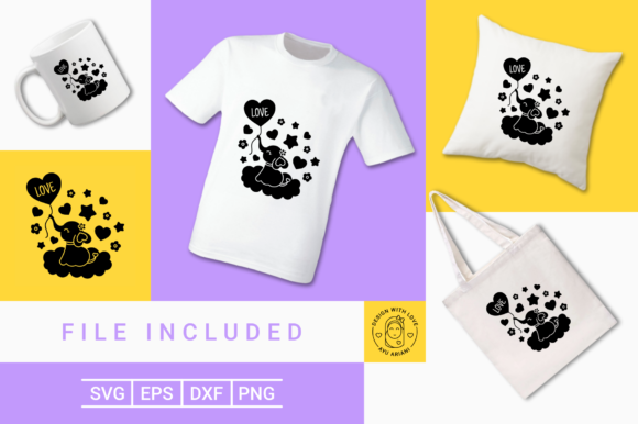Print on Demand: Cute Elephant Love Silhouette  Graphic Crafts By Ayuariani
