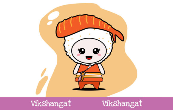 Download Free Cute Sushi Character Vector Mascot Graphic By Vikshangat for Cricut Explore, Silhouette and other cutting machines.