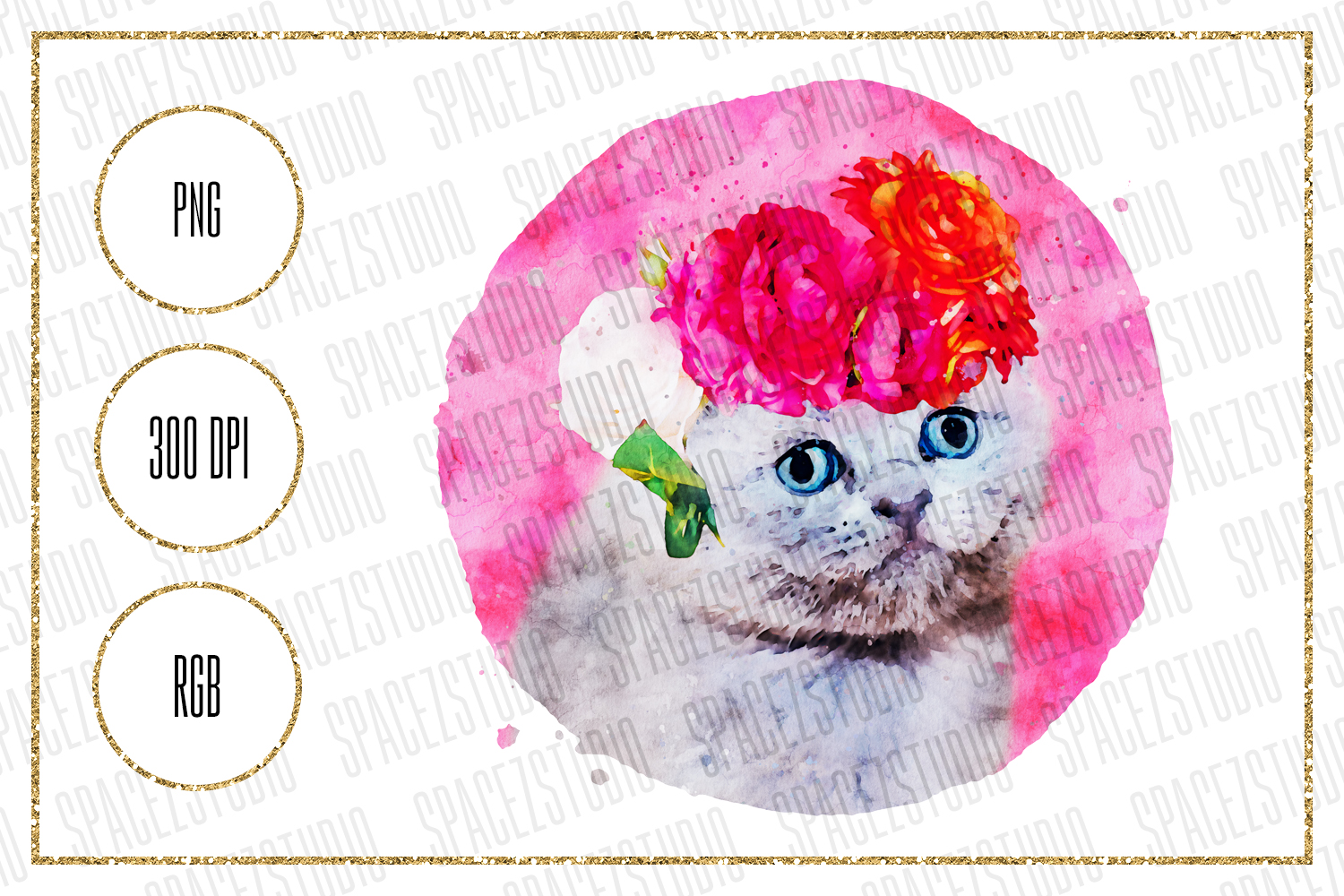 Download Free Cute Watercolor Kitty Sublimation Design Graphic By Sabina Leja for Cricut Explore, Silhouette and other cutting machines.